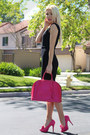 Pencil-french-connection-dress-hot-pink-louis-vuitton-heels