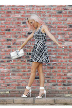 black and white Im Haute dress - studded bag Im Haute purse