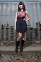 red Topshop dress - black reflections boots