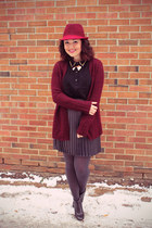 crimson fedora hat Joe Fresh hat - crimson long cardigan Joe Fresh sweater