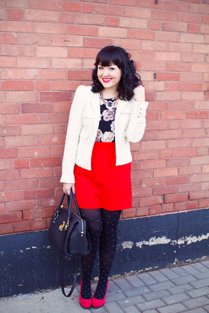 tweed coat Zara jacket - bunny bag asos bag - floral tank Loft 82 top