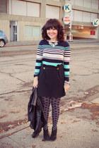 stripes JCrew t-shirt - leather studs Zara jacket - polka dots JCrew tights