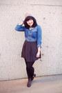 Sky-blue-denim-top-joe-fresh-blouse-tan-beanie-zara-hat