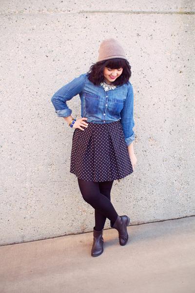 sky blue denim top Joe Fresh blouse - tan beanie Zara hat