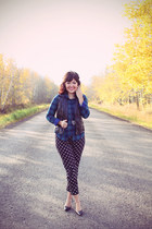 blue plaid top Joe Fresh blouse - black swan pants Topshop pants