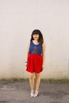 red skirt Jacob skirt - anchor print Tulle top - metallic pumps Zara heels