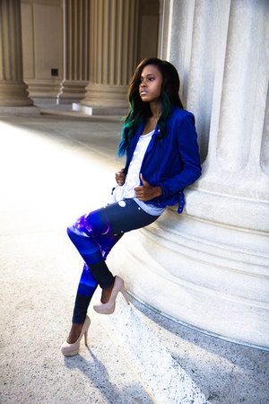 blue UrbanOG blazer - silver Young & Reckless top - tan rainbow heels