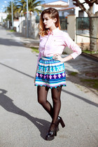 Choies skirt - black Jeffrey Campbell shoes - light pink Ralph Lauren shirt