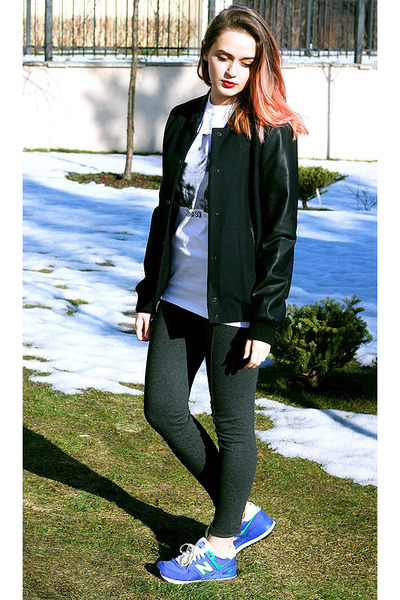 black Zara jacket - blue New Balance sneakers