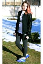 black Zara jacket - blue New Balance sneakers