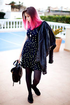 navy Zara dress - Pepe Jeans bag - Vans sneakers