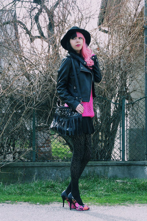 black Zara skirt - hot pink East Clothes sweater - black Demonia heels