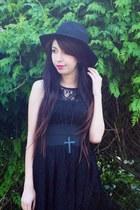 black patent leather Hidden Fashion boots - black lace romwe dress