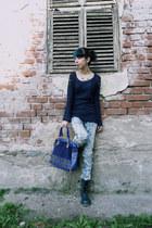 sky blue Forever 21 jeans - navy 2dayslook sweater