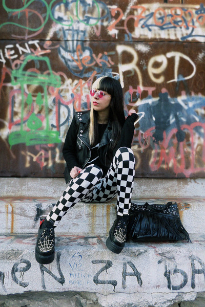 black cobweb creepers PERSUNMALL shoes - black Vateno sweater