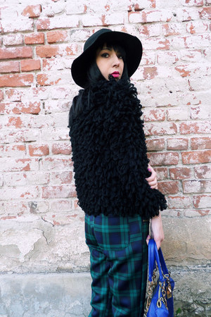 black fluffy JollyChic coat - blue eastclothes boots