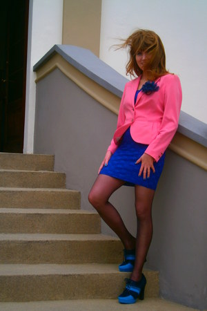 navy lace H&M dress - teal boots - bubble gum H&M jacket