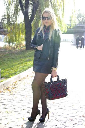 black Sheinside jacket - ruby red Sheinside blouse - black Sheinside skirt