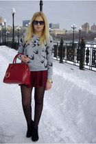 red BangGood bag - brick red persun skirt - heather gray Sheinside sweatshirt