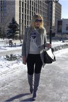 heather gray tbdress boots - heather gray Sheinside coat - black OASAP bag