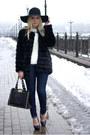Black-chicwish-coat-blue-forever-21-jeans-black-frontrowshop-hat