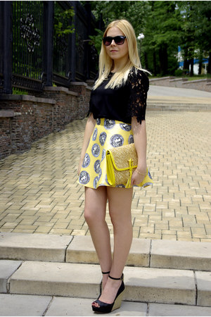 yellow Bershka bag - black Zara shoes - black Sheinside blouse