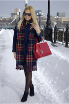 red Frontrowshop scarf - black asos boots - navy Sheinside coat