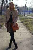 orange asos bag - neutral H&M jacket - black asos heels - black Stradivarius top