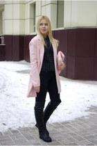bubble gum Sheinside coat - black blackfive shoes - bubble gum Frontrowshop bag