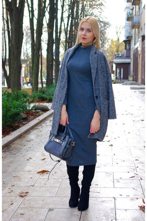gray VIPme bag - black zaful boots - charcoal gray Rosegal dress