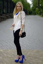 white Forever  21 blazer - blue Sheinside necklace - black Forever  21 pants
