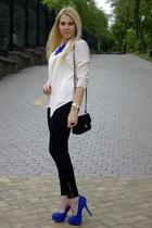 white Forever  21 blazer - blue Sheinside necklace - black Forever  21 pants
