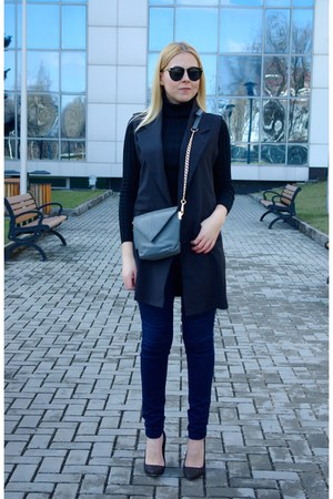 black shein sweater - heather gray DressLink bag - navy CNdirect pants