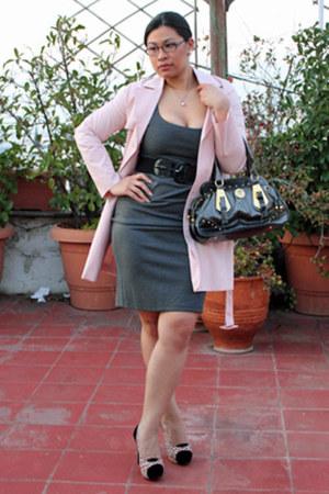 nude ysatis cardigan - gray wool ysatis dress - black black and gold Zara bag