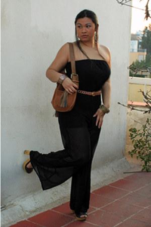 black Forever 21 romper - camel H&M bag - camel belt
