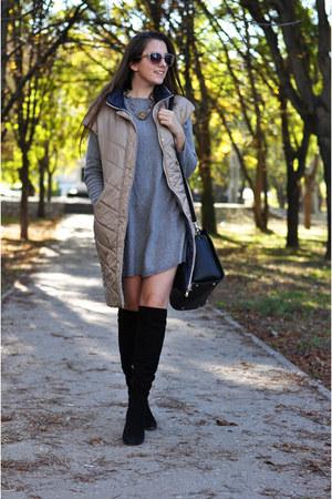 black Luciano Carvari boots - silver denny rose dress - black Fiorelli bag