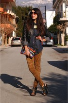 leopard print Zara pants - black leather Zara jacket