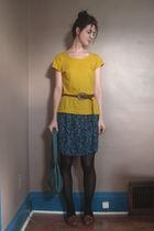 gold le chateau shirt - blue DIY skirt - black calvin klein tights - black calvi