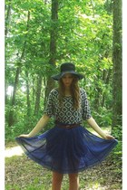 black thrifted hat - off white Forever 21 top - blue Angie skirt - tawny thrifte
