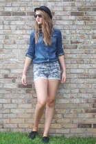 denim H&M shirt - Forever 21 shorts - oxfords j jill flats