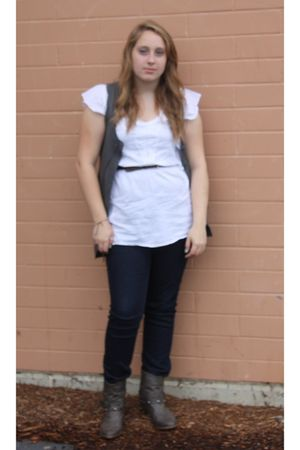 gray Mossimo boots - white shirt - blue Forever21 jeans - brown belt - gray vest