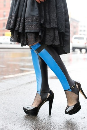 blue leather-spandex Stee-Letas boots