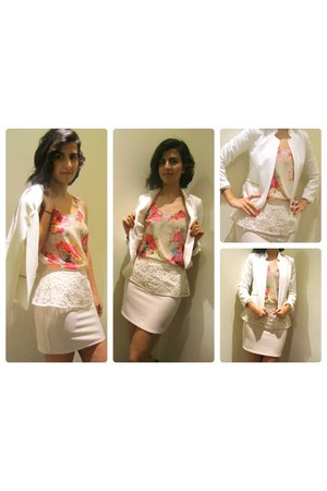 white tailored Love Ady blazer - coral lace back romeo & juliet shirt