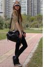 Brown-d-g-hat-dark-khaki-stradivarius-sweater-black-replay-sneakers