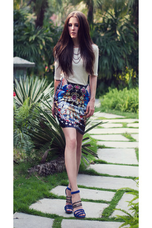 printed OASAP skirt - neon blue BCBG heels - Mango top