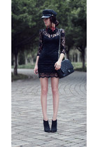 black studded Bershka boots - black laced Sheinside dress