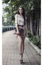 dark brown ethnic print tako feito de mao bag - tan chiffon Neon Rock Shop skirt