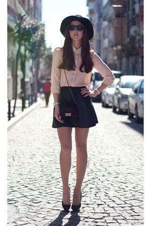 ivory chiffon OASAP blouse - black leather skirts Sheinside skirt