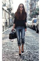 black long blazer Sheinside blazer - black leather bag PERSUNMALL bag