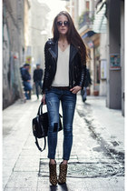 blue denim Wholesale7 jeans - black leather jacket Boda Skins jacket